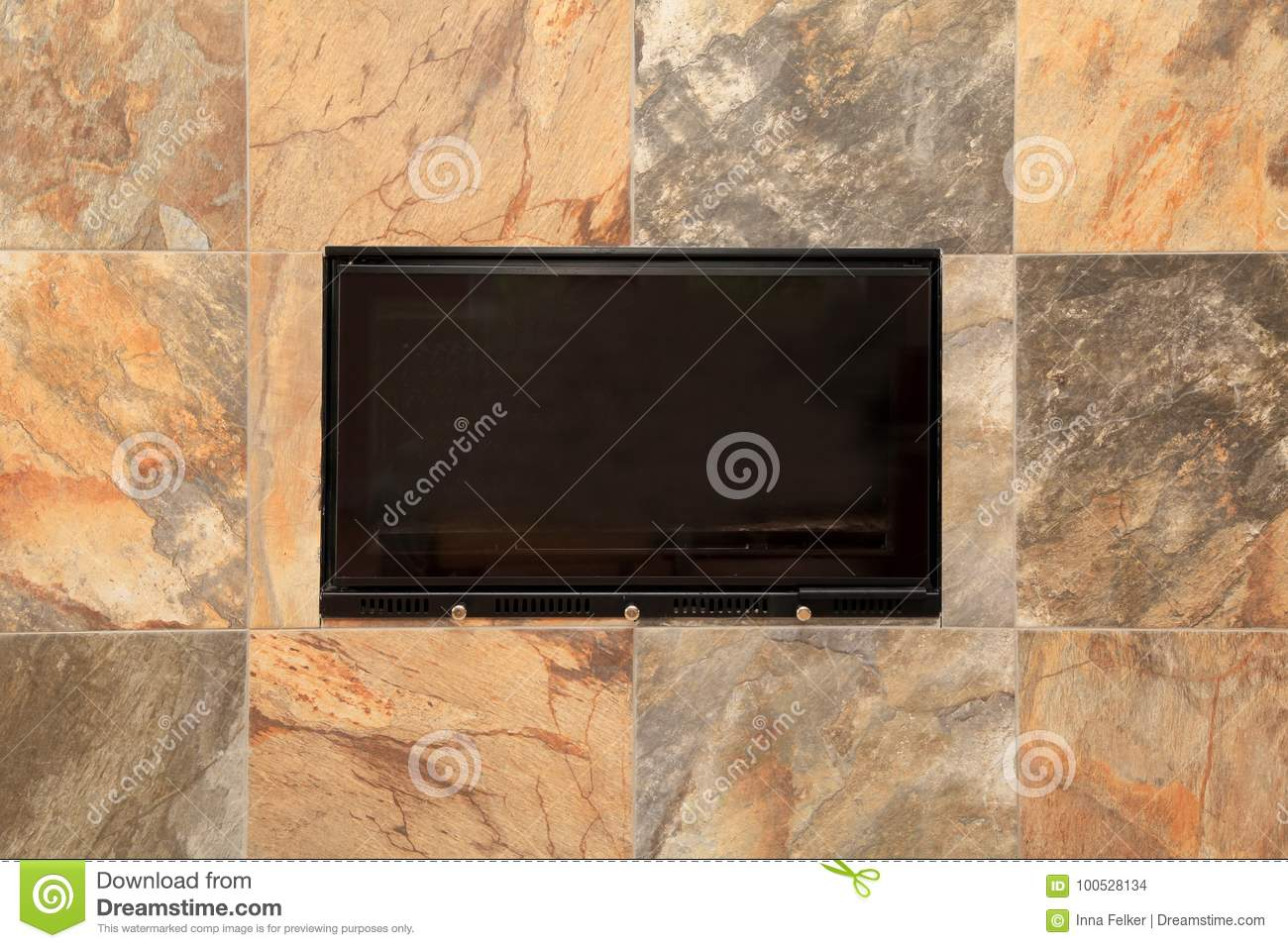Stone tile fireplace detail