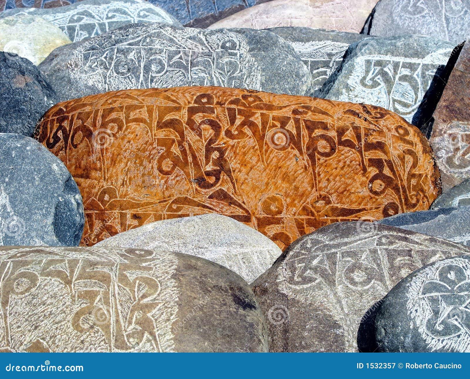 Stone tybetańskiej modlitwa