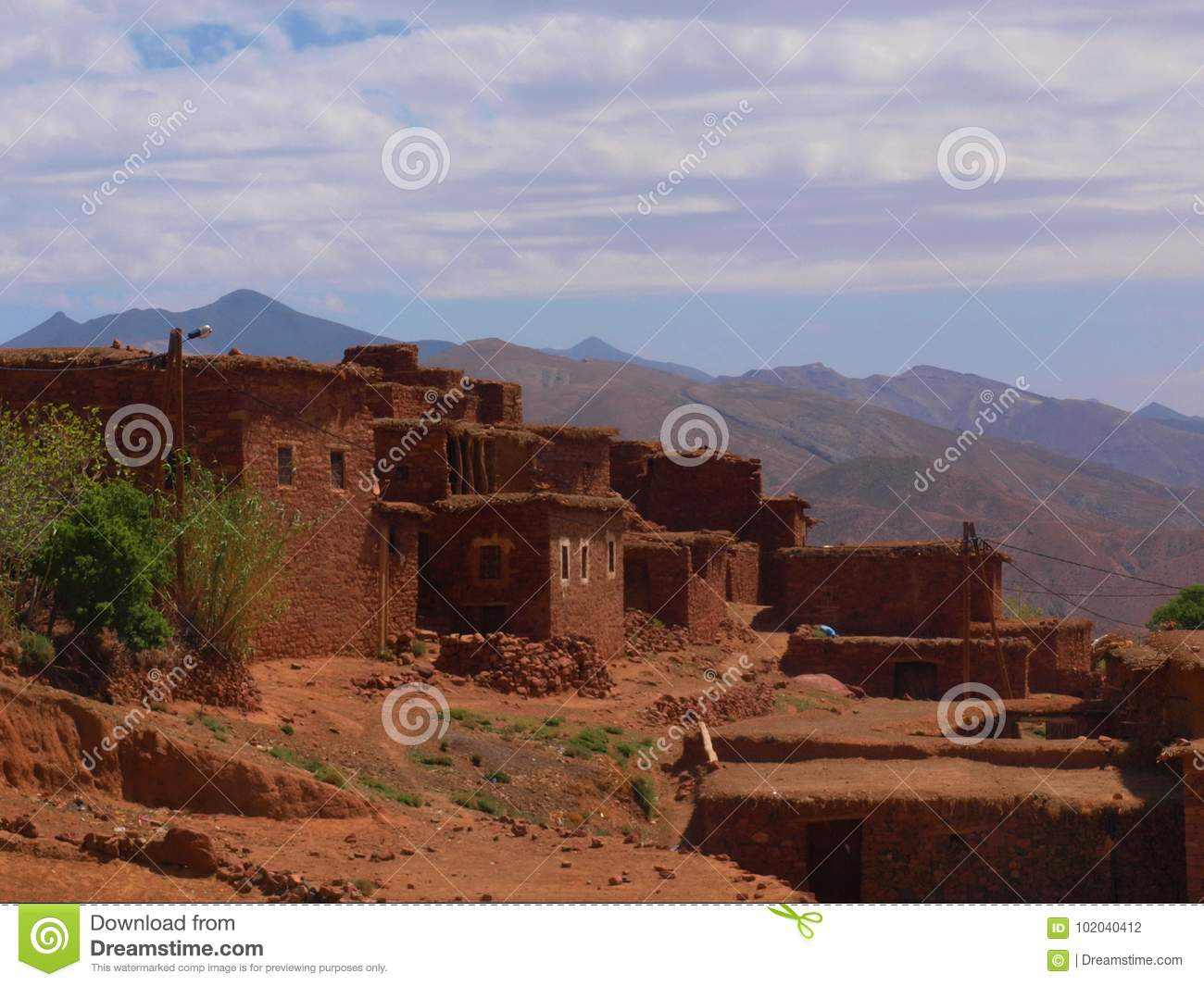 Stone village in High Atlas, Morocco