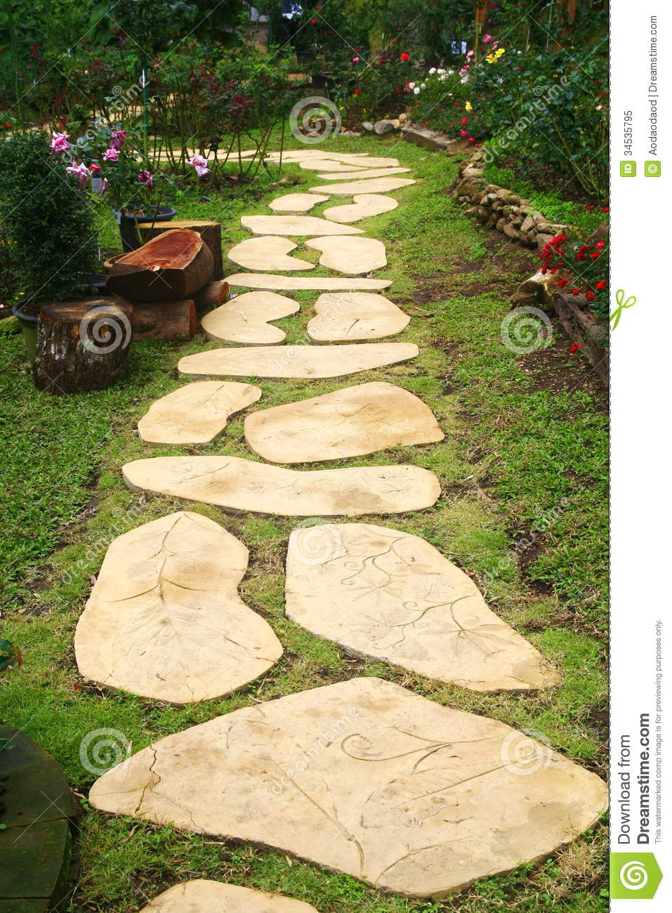 Stone walkway in garden royalty free stock photo image 34535795 - Royalty Free Stock Photo Garden Stone Thailand Walkway