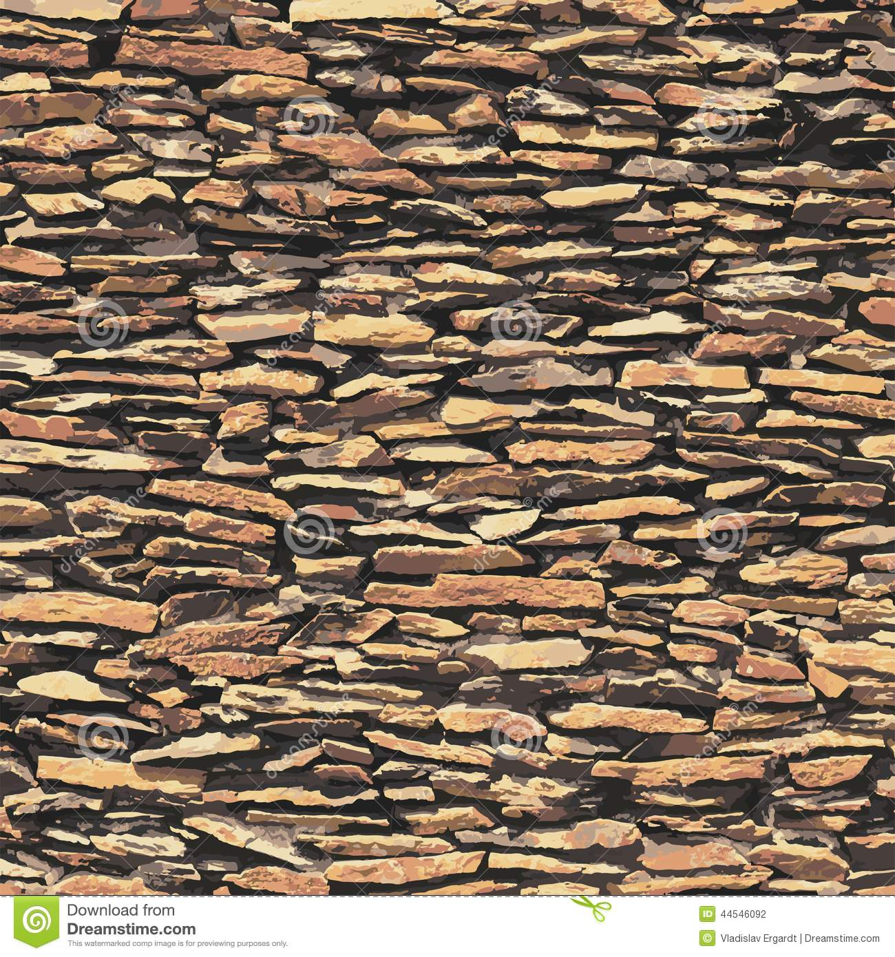 Stone Wall Brown Relief Texture With Shadow Stock Photo