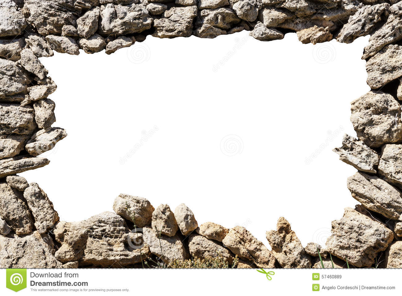 Stone Wall Frame With Empty Hole Stock Photo - Image: 57460889