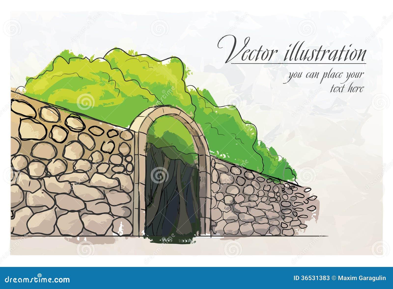 Stone wall in a garden. Watercolor imitation.