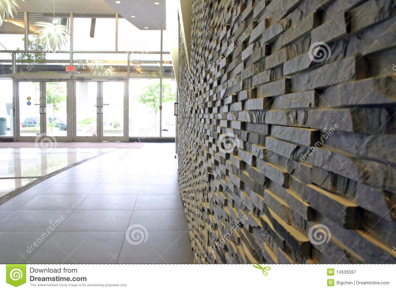 Stone Wall In Modern Building Royalty Free Stock