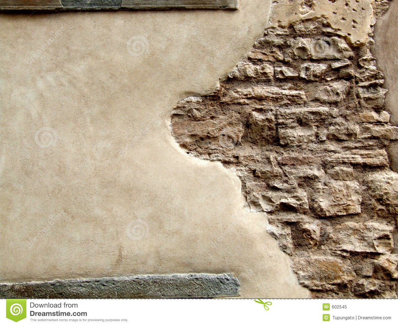 Marble Wall Plaster : Stone wall with peeling plaster stock image of