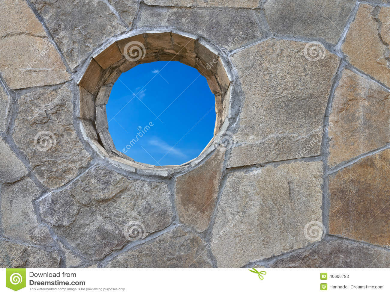 Stone wall with round hole