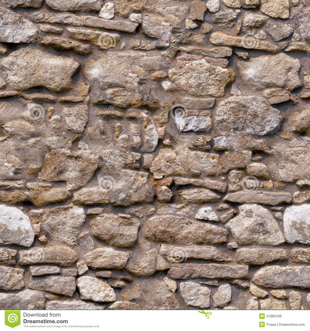 Stone Wall Design seamless pattern - old brown rough natural stone wall stock photo