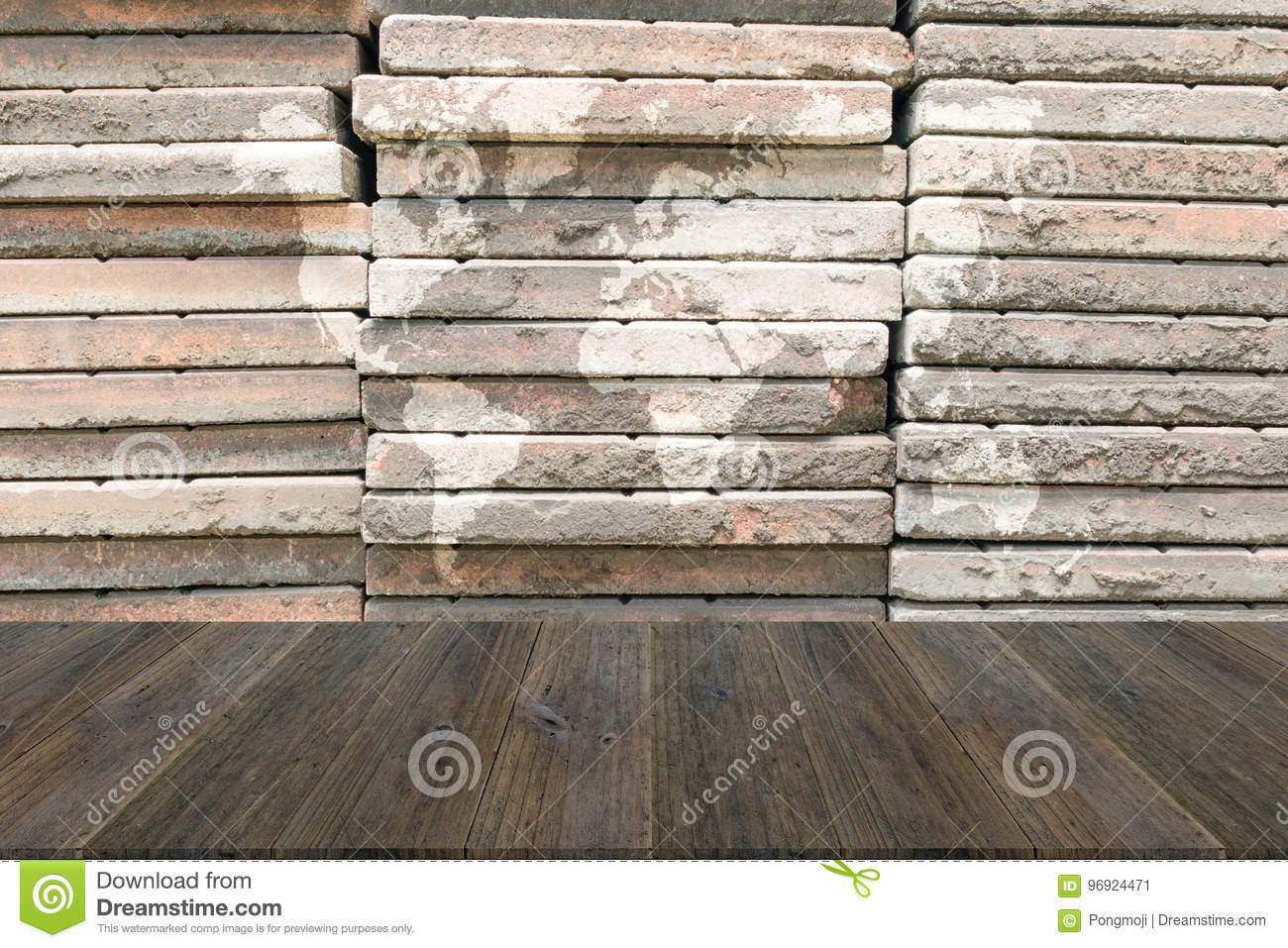 Stone wall texture with wood terrace with world map stock image download comp gumiabroncs Gallery