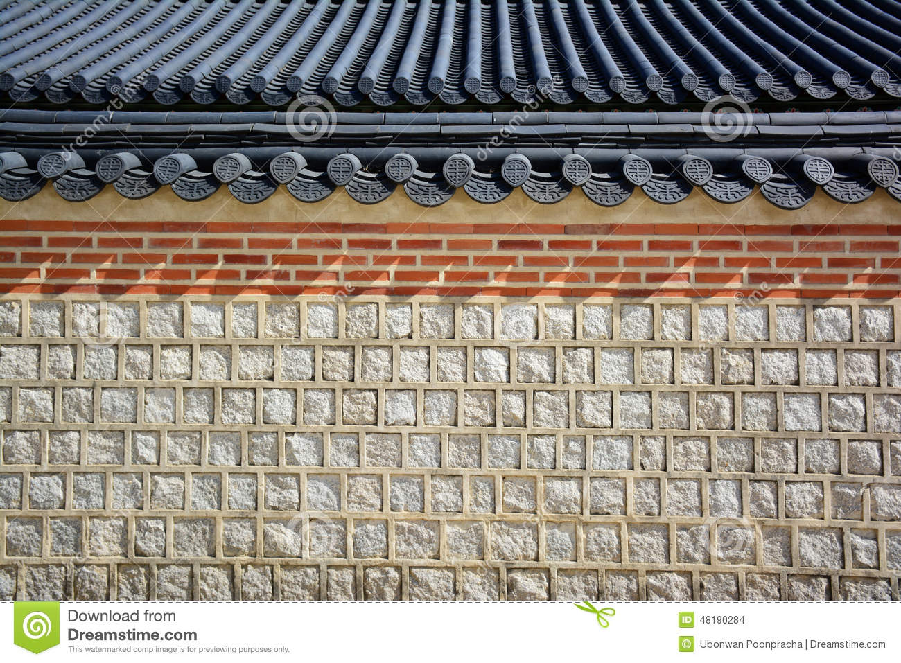Stone Wall And Tile Roof Korean Traditional Stock Photo