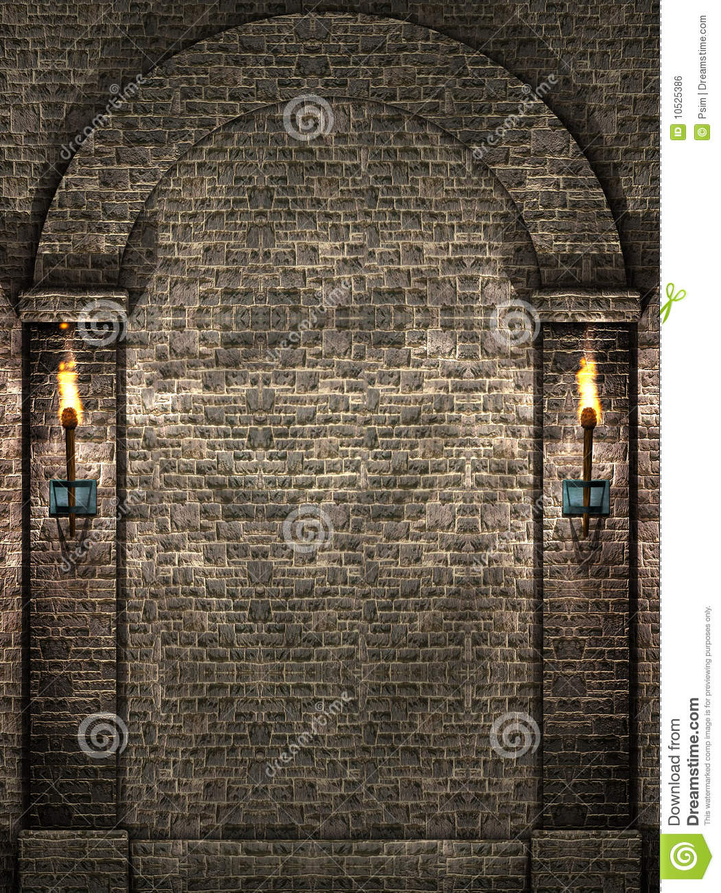 stone wall with torches royalty free stock image image
