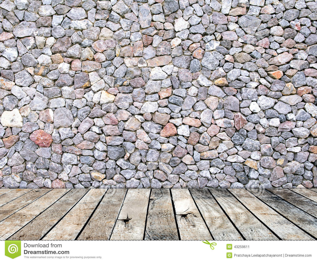 Stone Wall On Wood Floor Room Interior Modern Style Stock