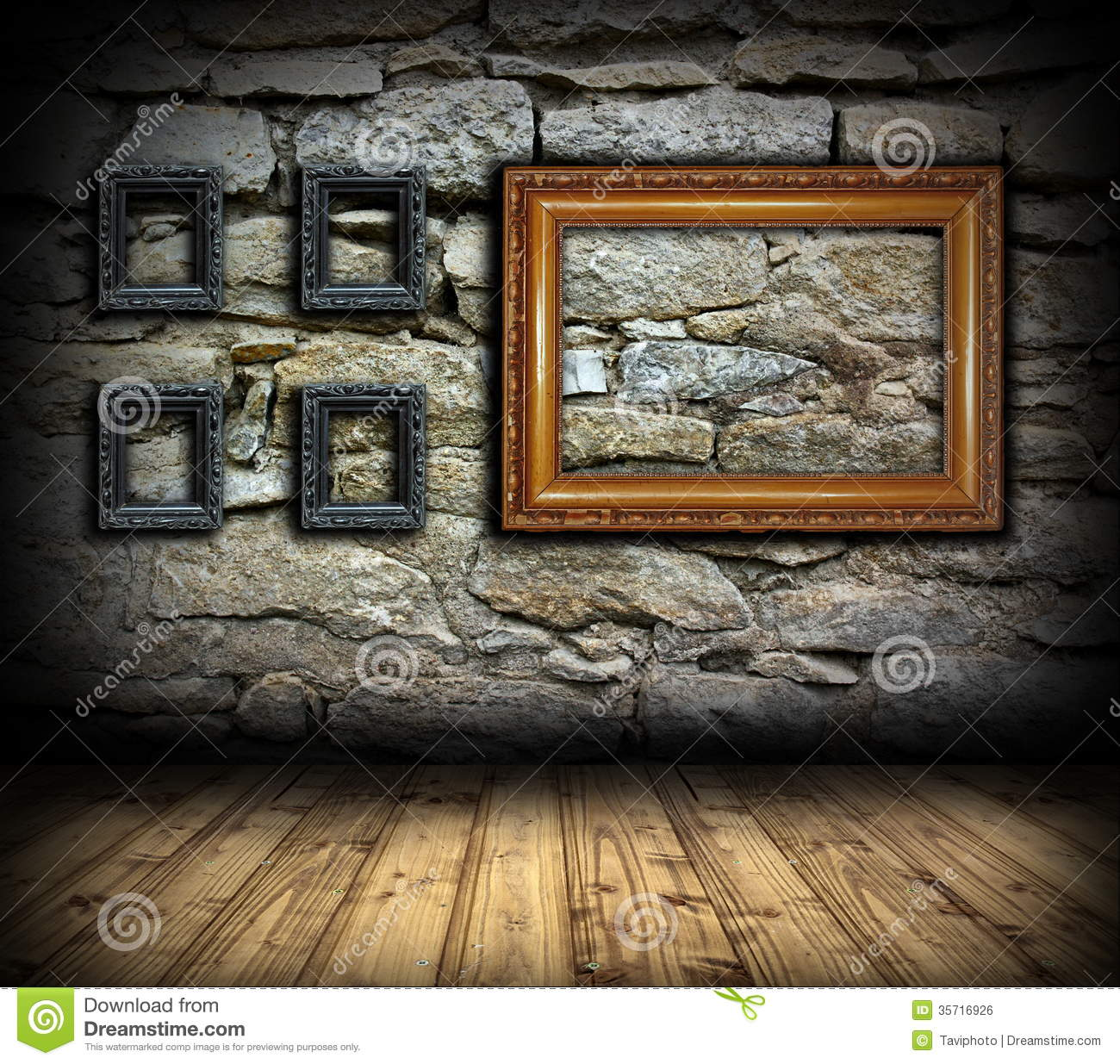 Stone wall with wood painting frames royalty free stock for Interior wall designs stone