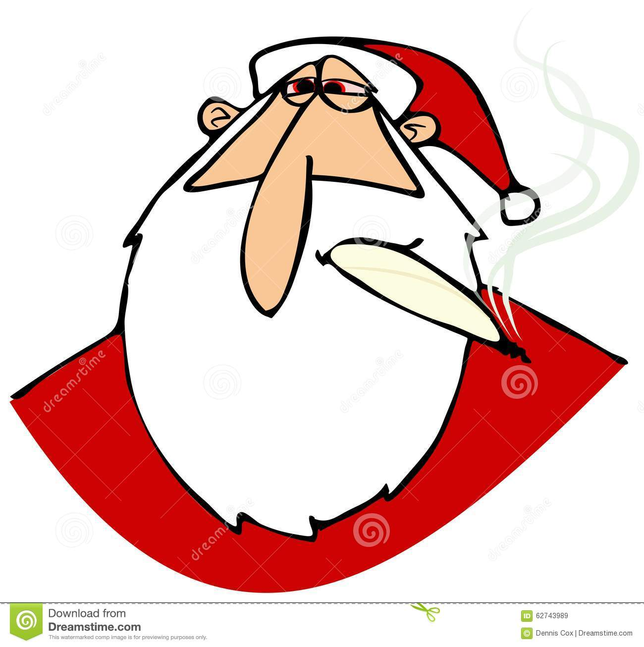 Stoned Santa with red eyes stock illustration ...