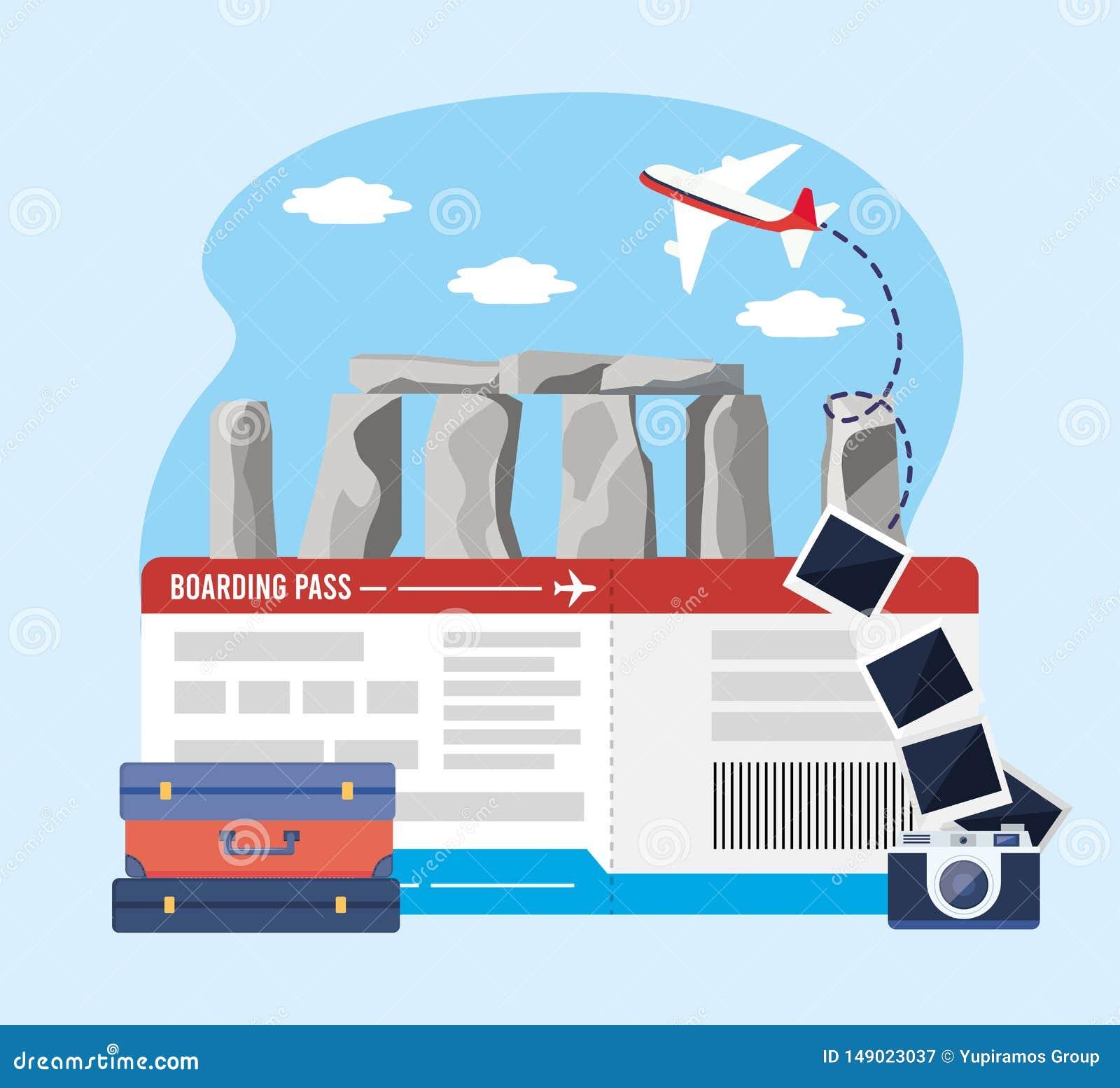 Stonehenge con el boleto y la cámara con las imágenes y el equipaje