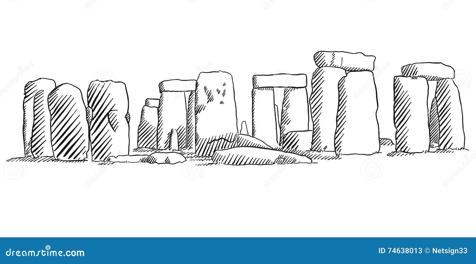 Line Drawing Uk : Stonehenge england historical monument sketch stock