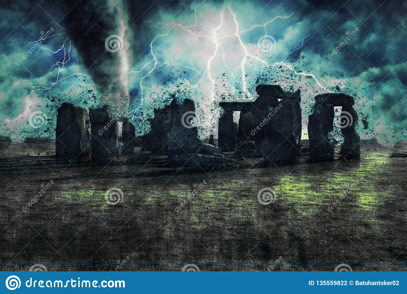 Stonehenge during the heavy storm, rain and lighting in England