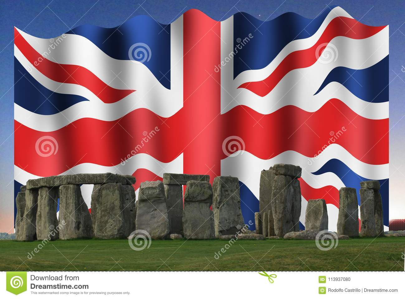 The Union Jack In Stonehenge Stock Photo - Image of national, high