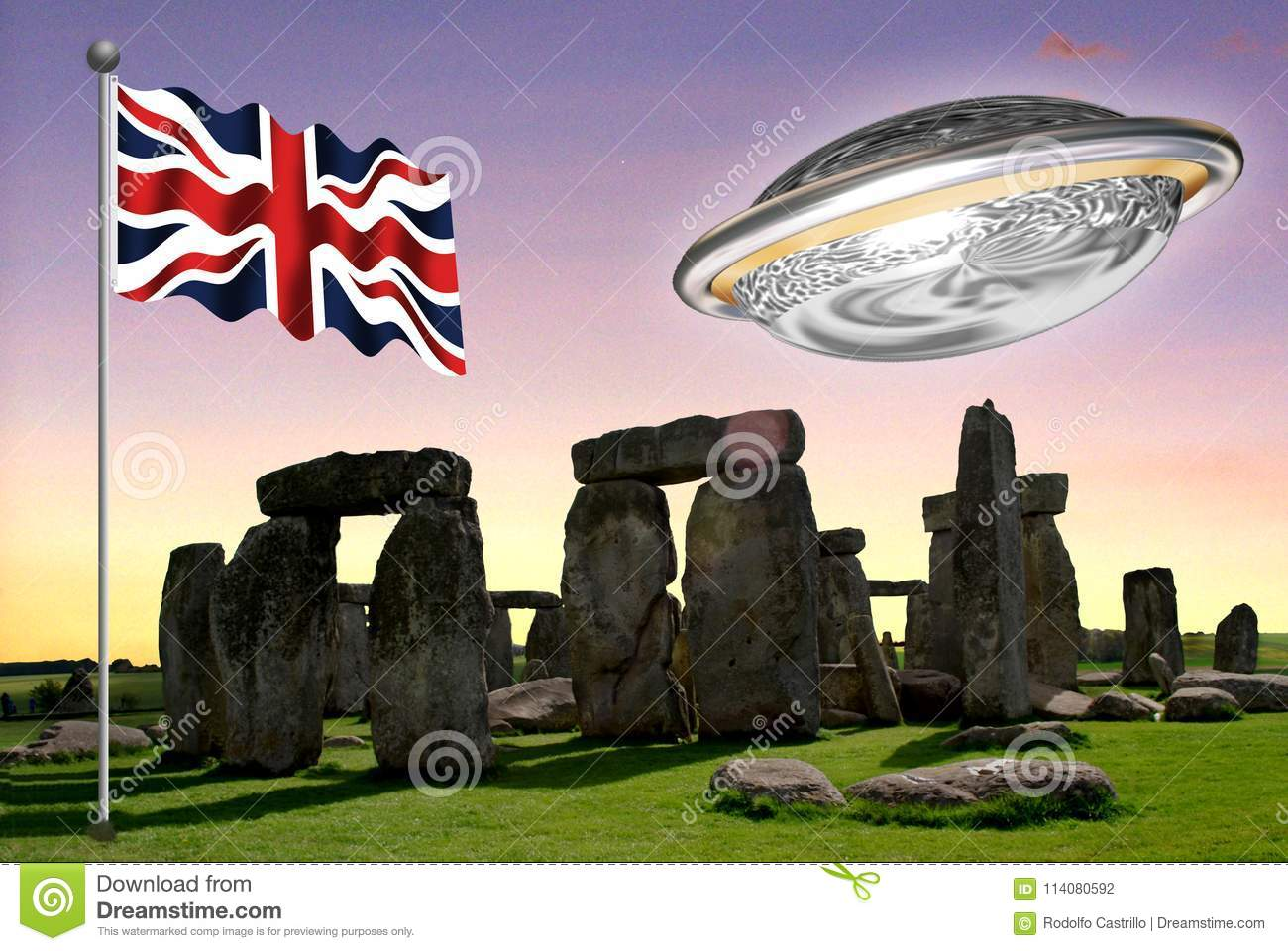 Stonehenge with the Union Jack with a flying saucer 2