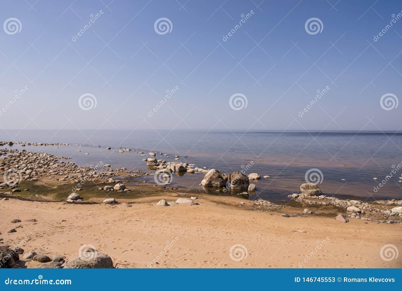 Stones balance on the beach. Place on Latvian coasts called Veczemju klintis