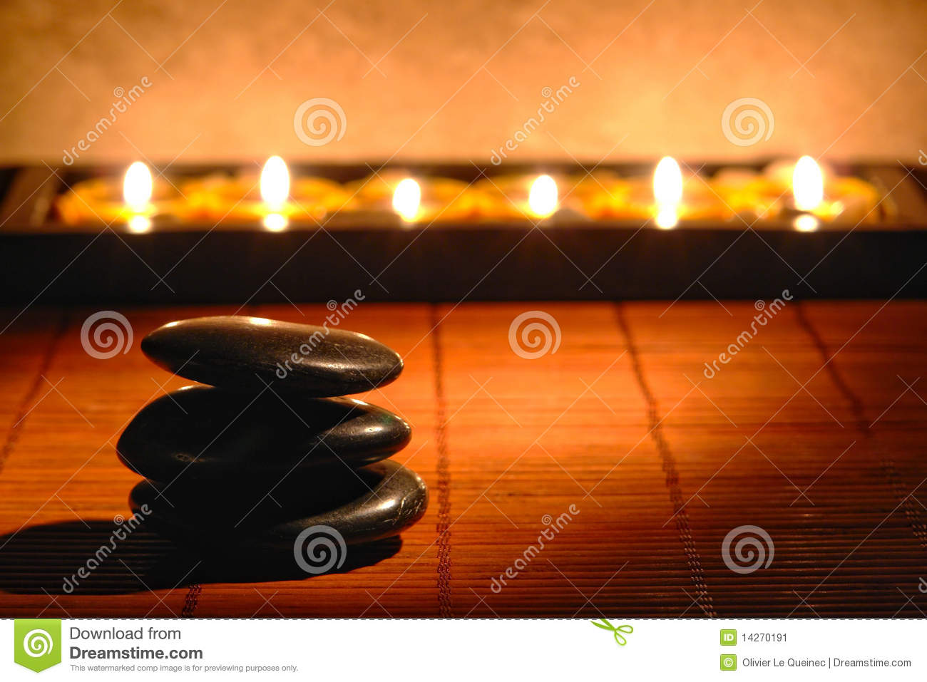 Stones Cairn and Candles for Quiet Zen Meditation