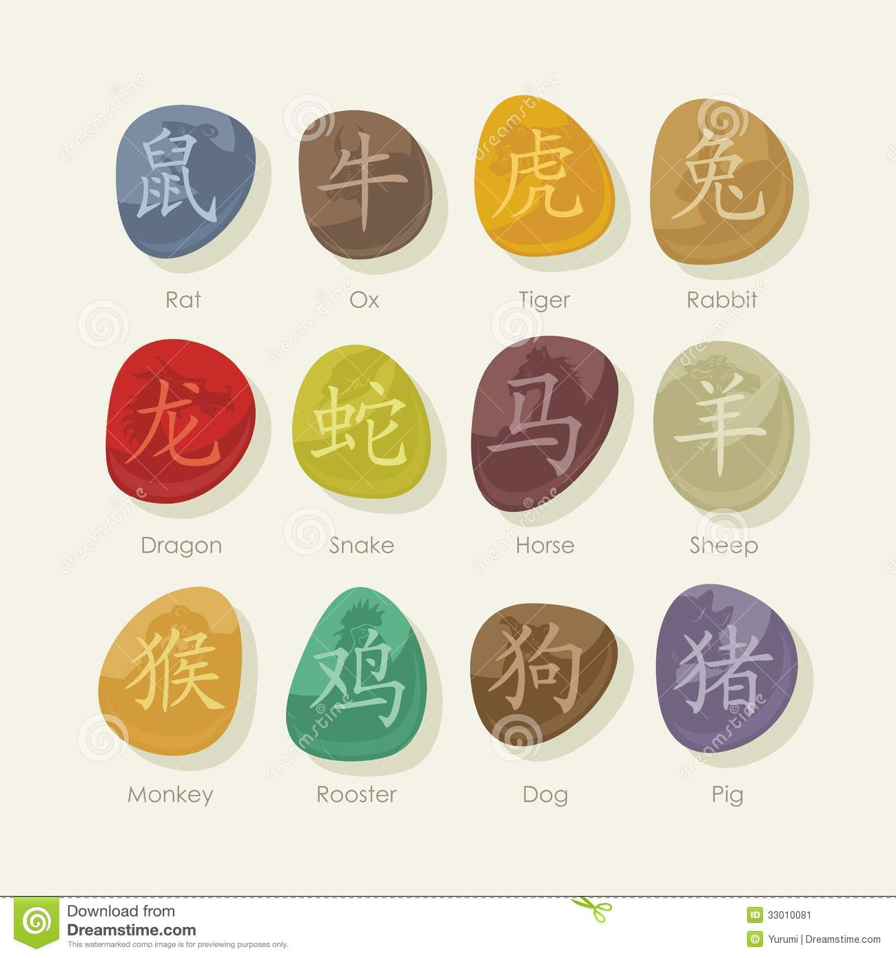 Stones Set With Chinese Zodiac Signs Stock Image - Image: 33010081
