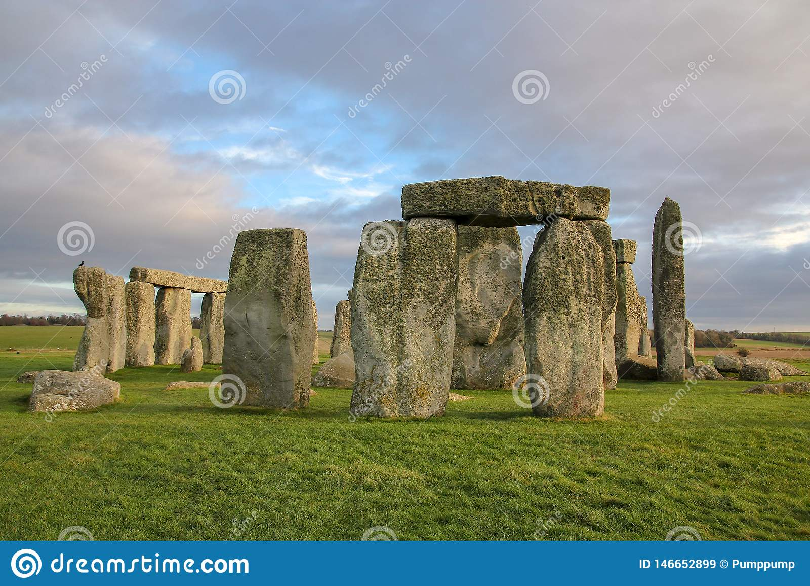 the stones of Stonehenge, a prehistoric monument in Wiltshire, England. UNESCO World Heritage