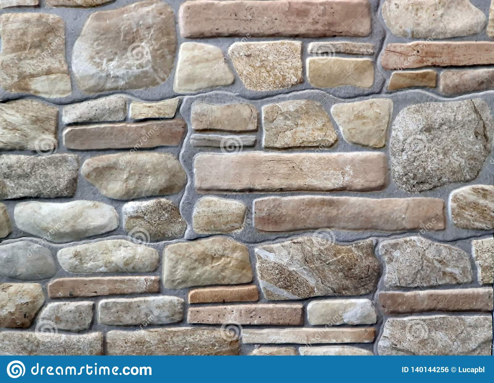 Stoneware Cladding Wall With Natural Stones Effect Stock Photo