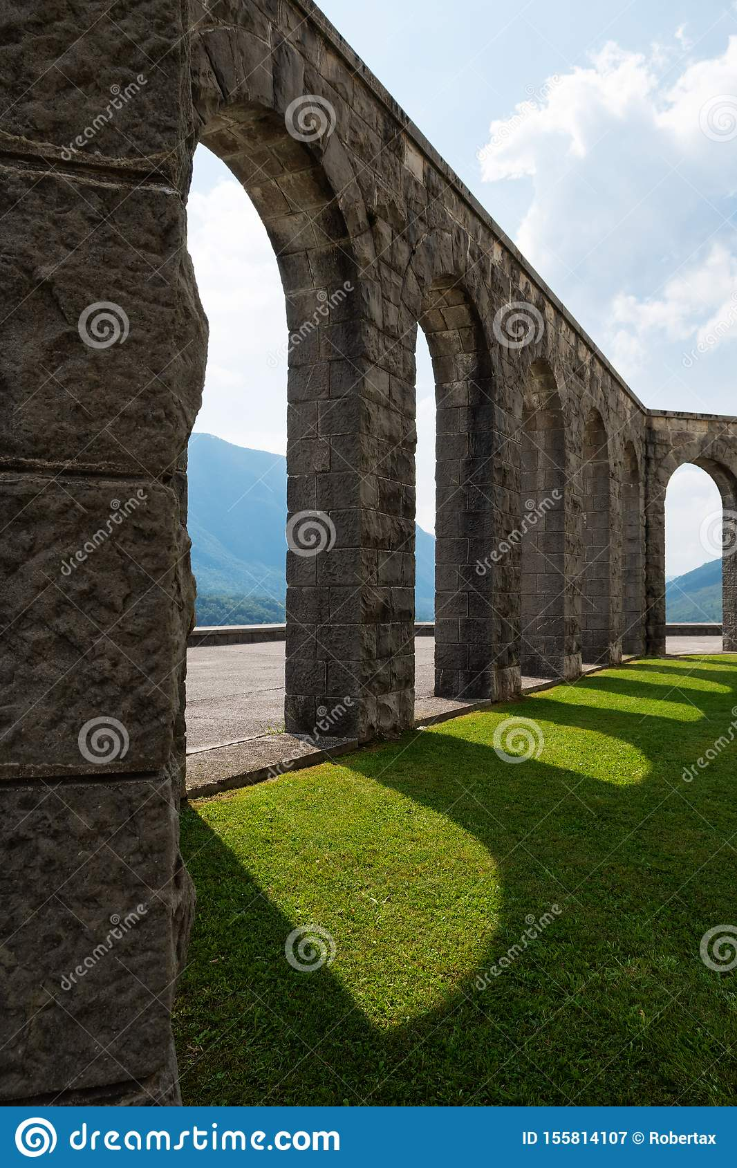 Stony arcades of World War I memorial place near Kobarid, Slovenia