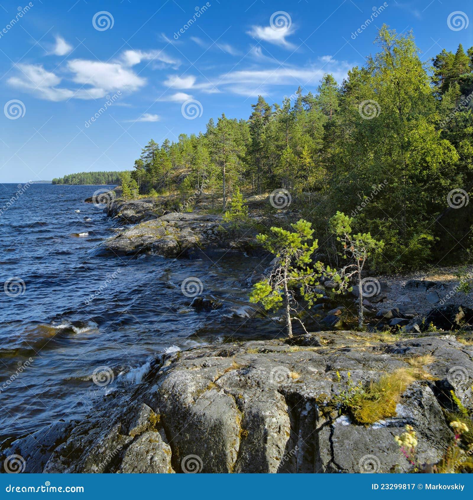 Stony shore of Ladoga lake stock image. Image of beautiful ...