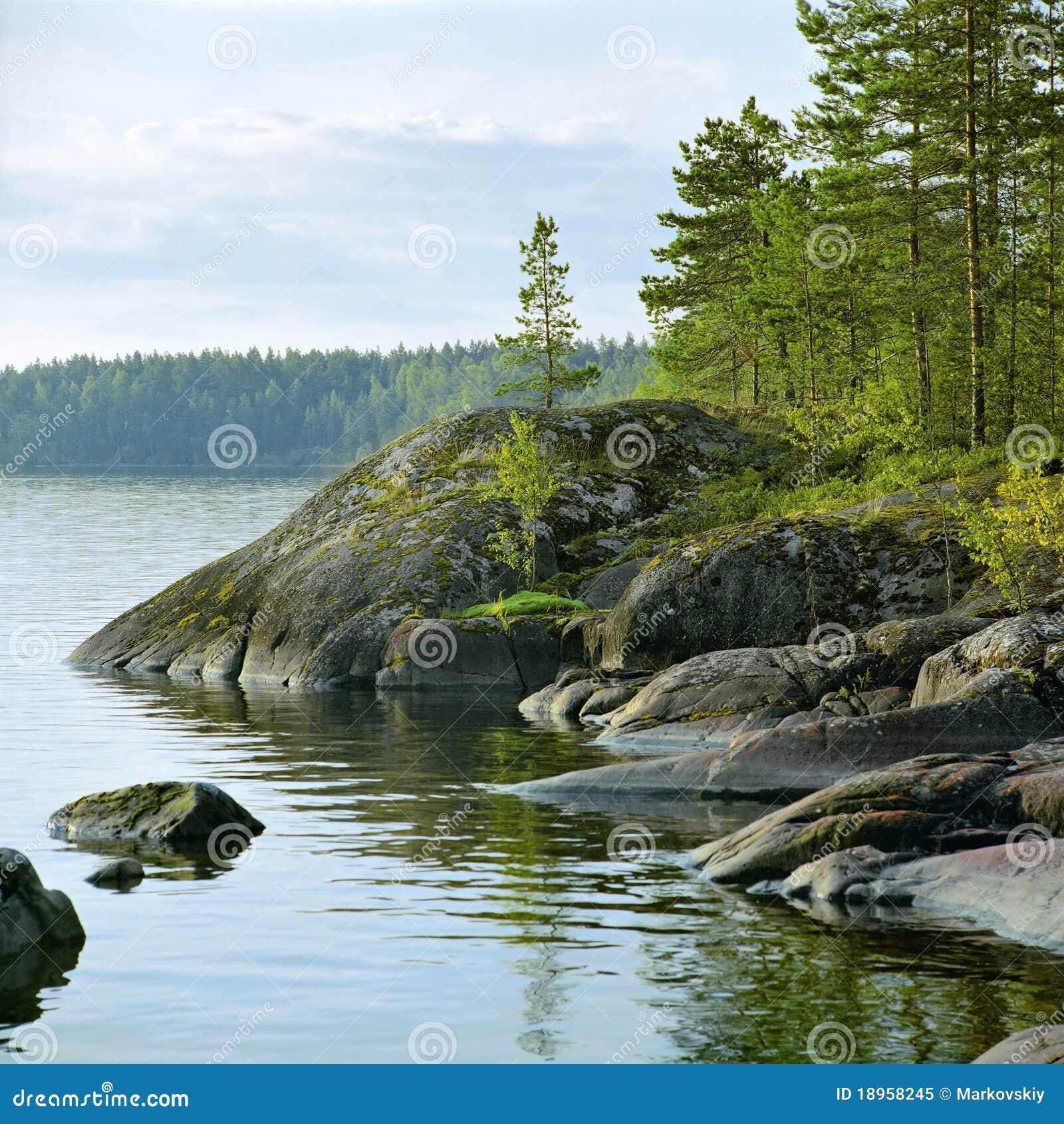 Stony Shore Of Ladoga Lake, Russia Stock Image - Image of ...