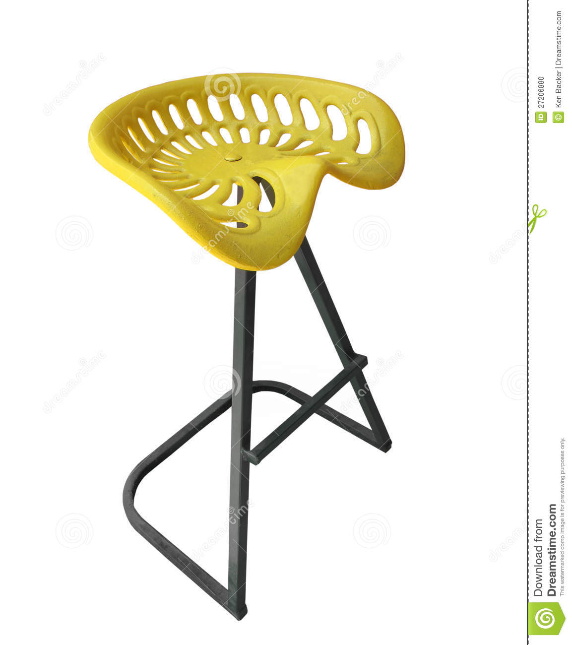 Old Time Tractor Seats : Stool made from an old tractor seat isolated stock photo