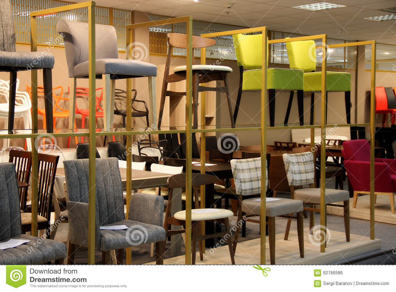 Stools And Chairs Exhibition In Shopping Mall Stock Photo - Image of ...