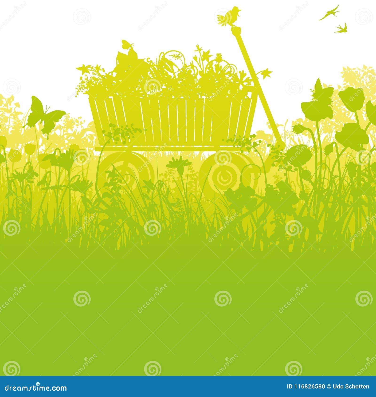 Stootkar in hoog dicht gras