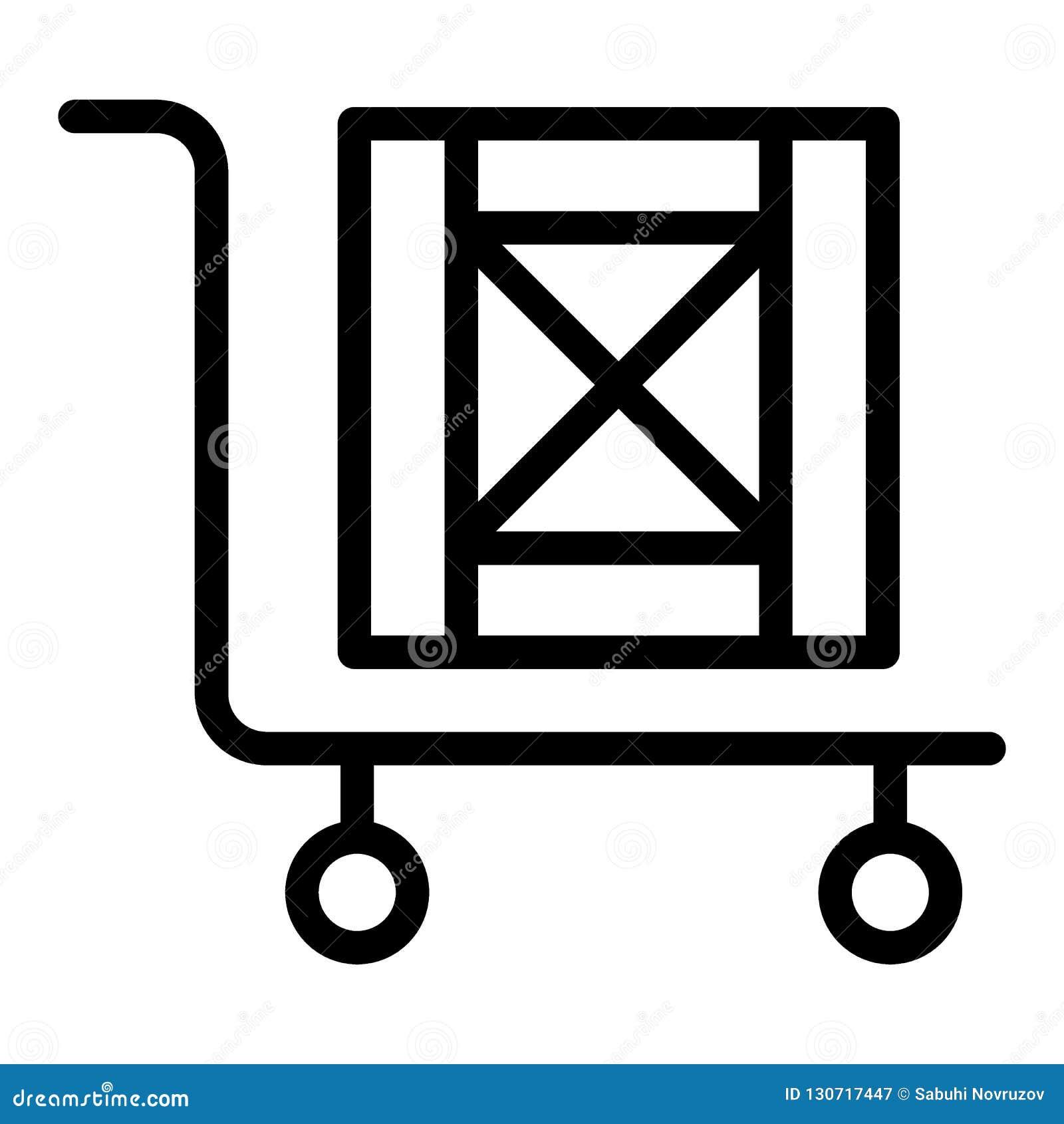 Stootkar met het pictogram van de dooslijn Lading op kar vectordieillustratie op wit wordt geïsoleerd Stootkar met de houten stij