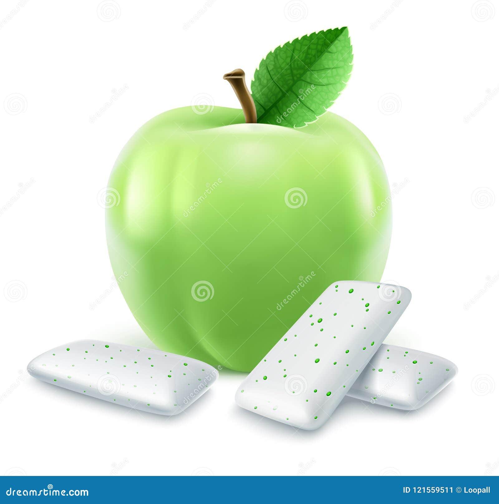 Stootkussens van kauwgom met groen appelaroma