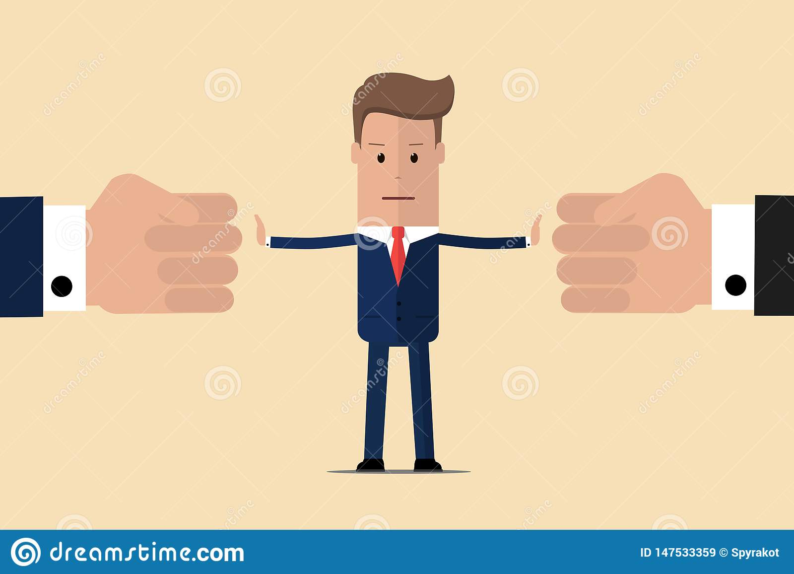 Stop conflict. Businessman referee finds compromise. Mediator solving competition. Conflict and solution. The man throws two fists