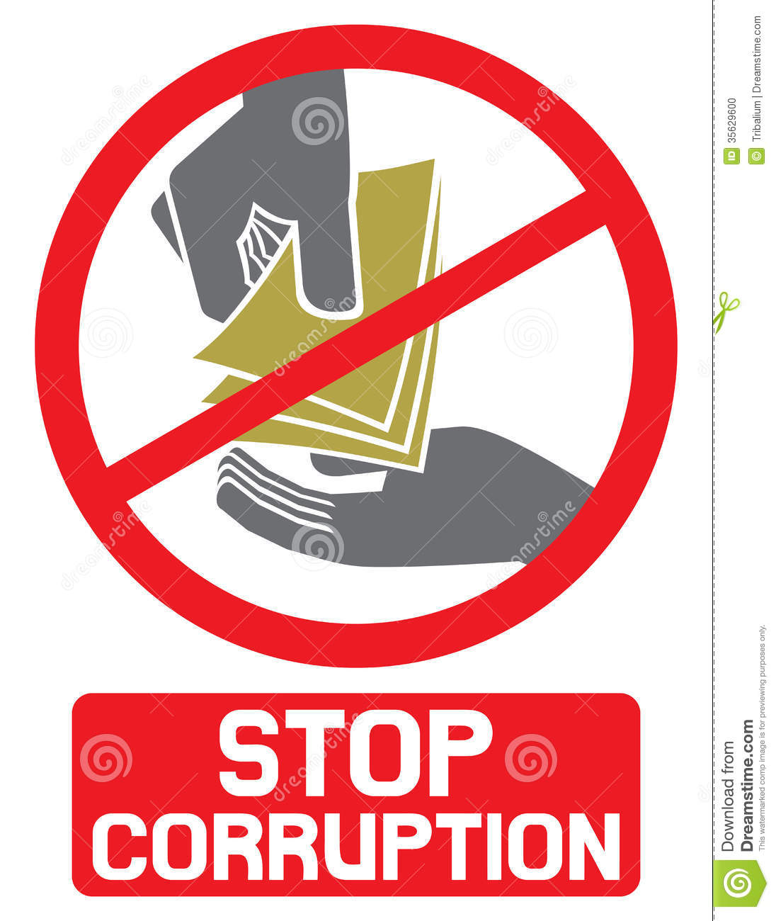 Stop Corruption Sign Stock Photo Image 35629600
