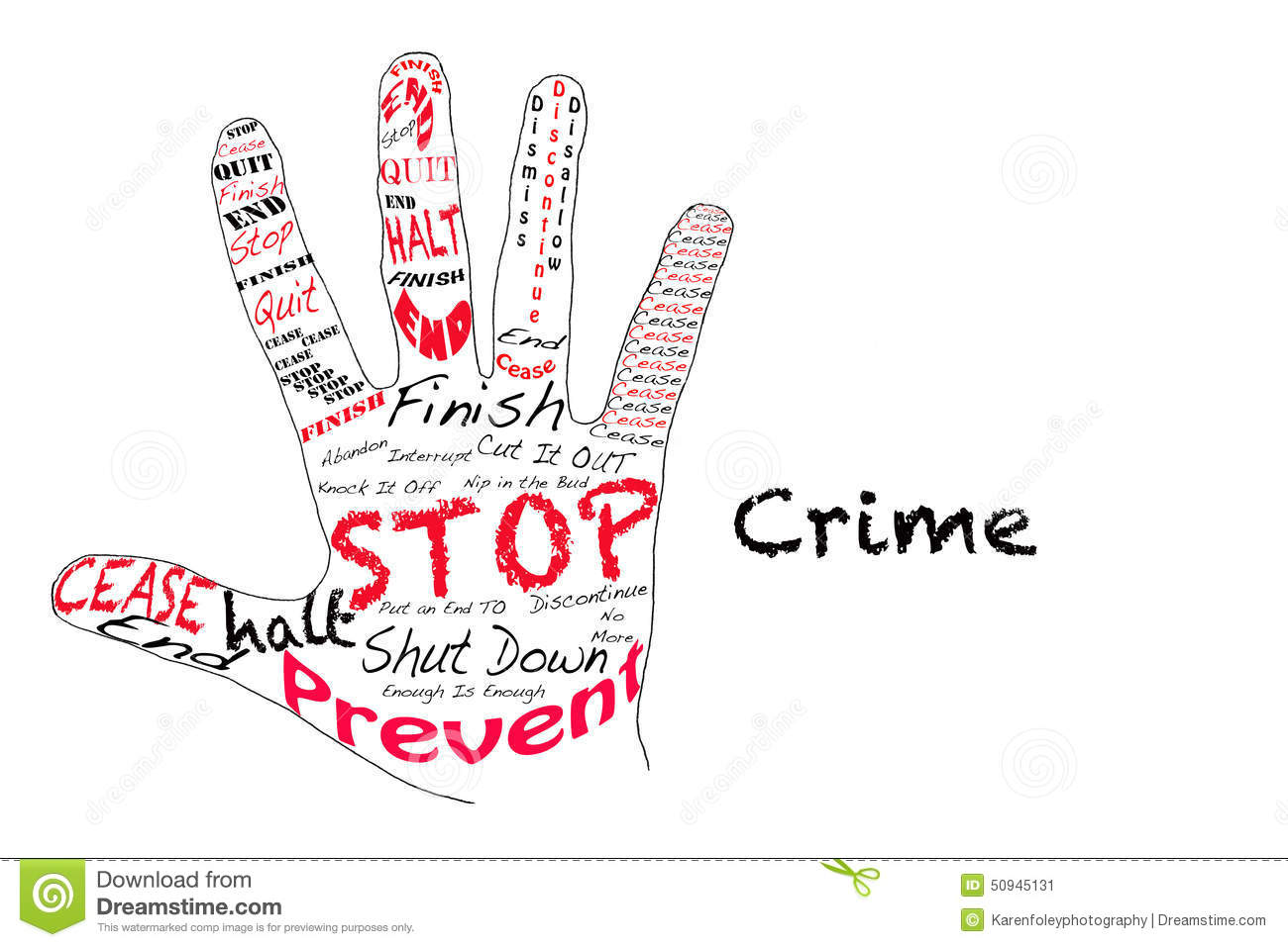 Outline of a hand with the words for Stop along with the word Crime.