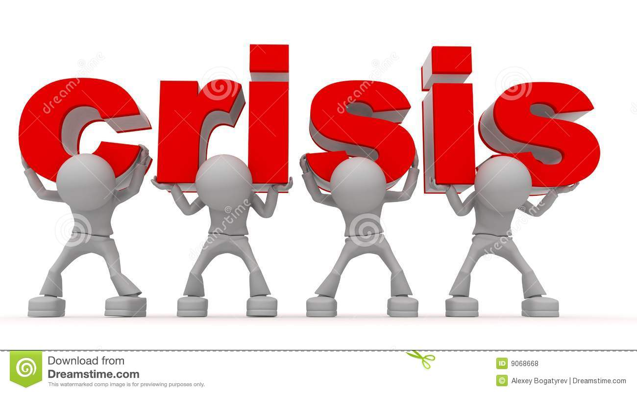 Graphic of four anonymous figures lifting the word crisis in large red ...