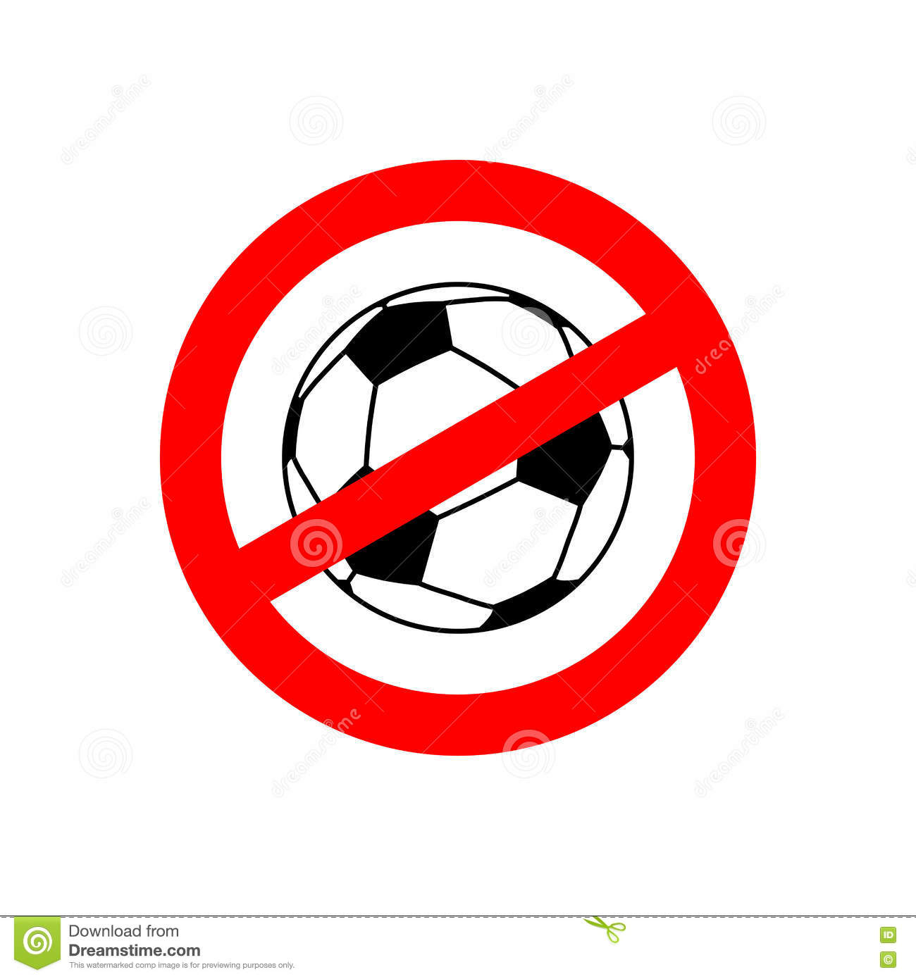 Stop Football Prohibited Team Game Red Prohibition Sign Cross