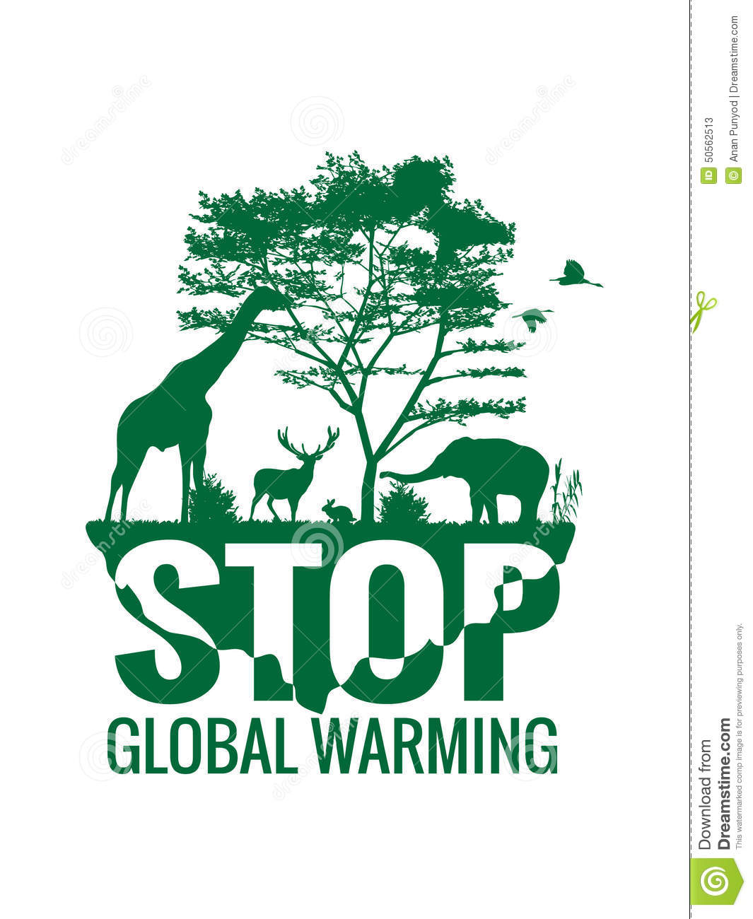 stop global warming (animal planet) stock vector - illustration of