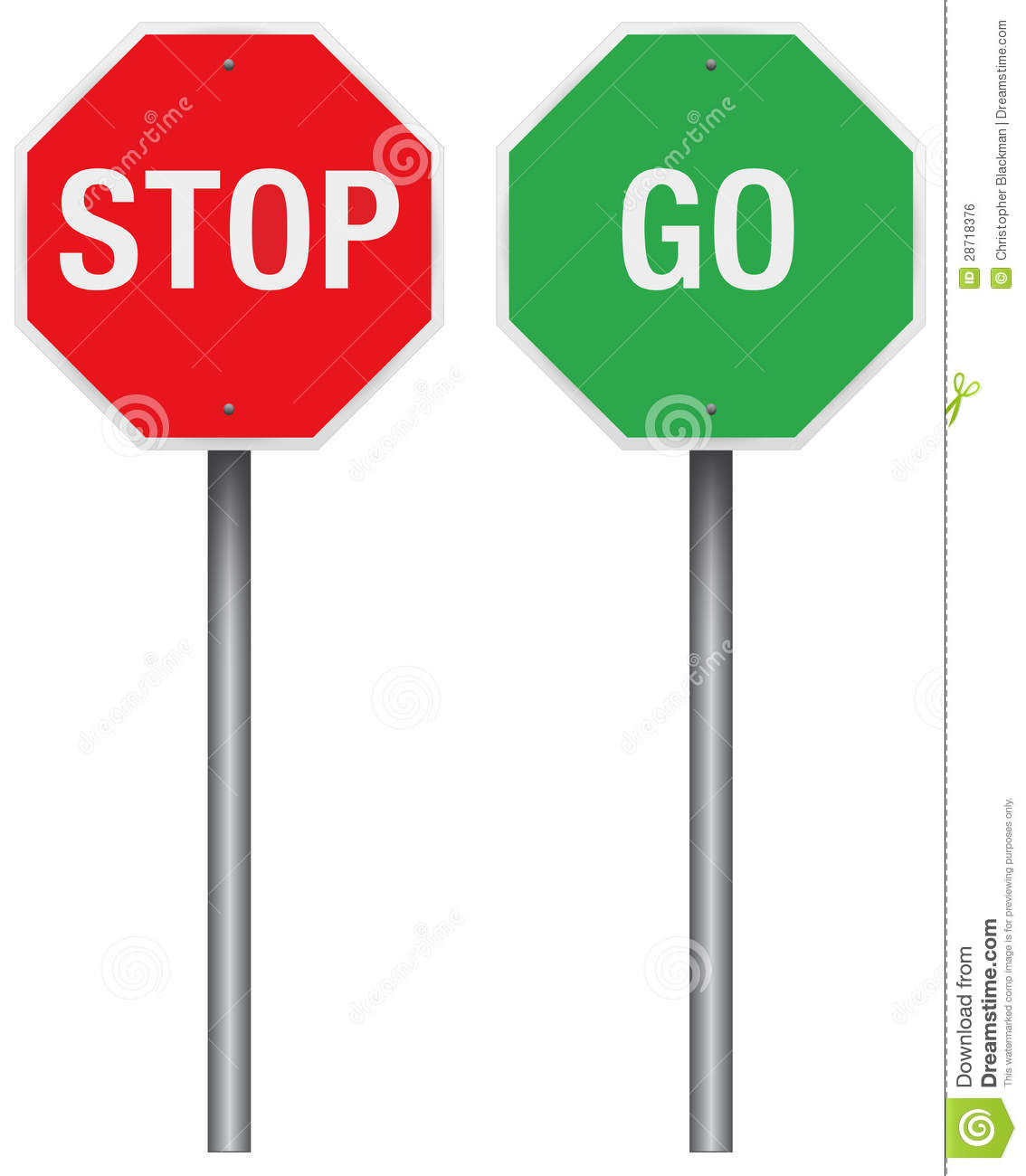 Stop and Go Signs stock vector. Illustration of caution ...