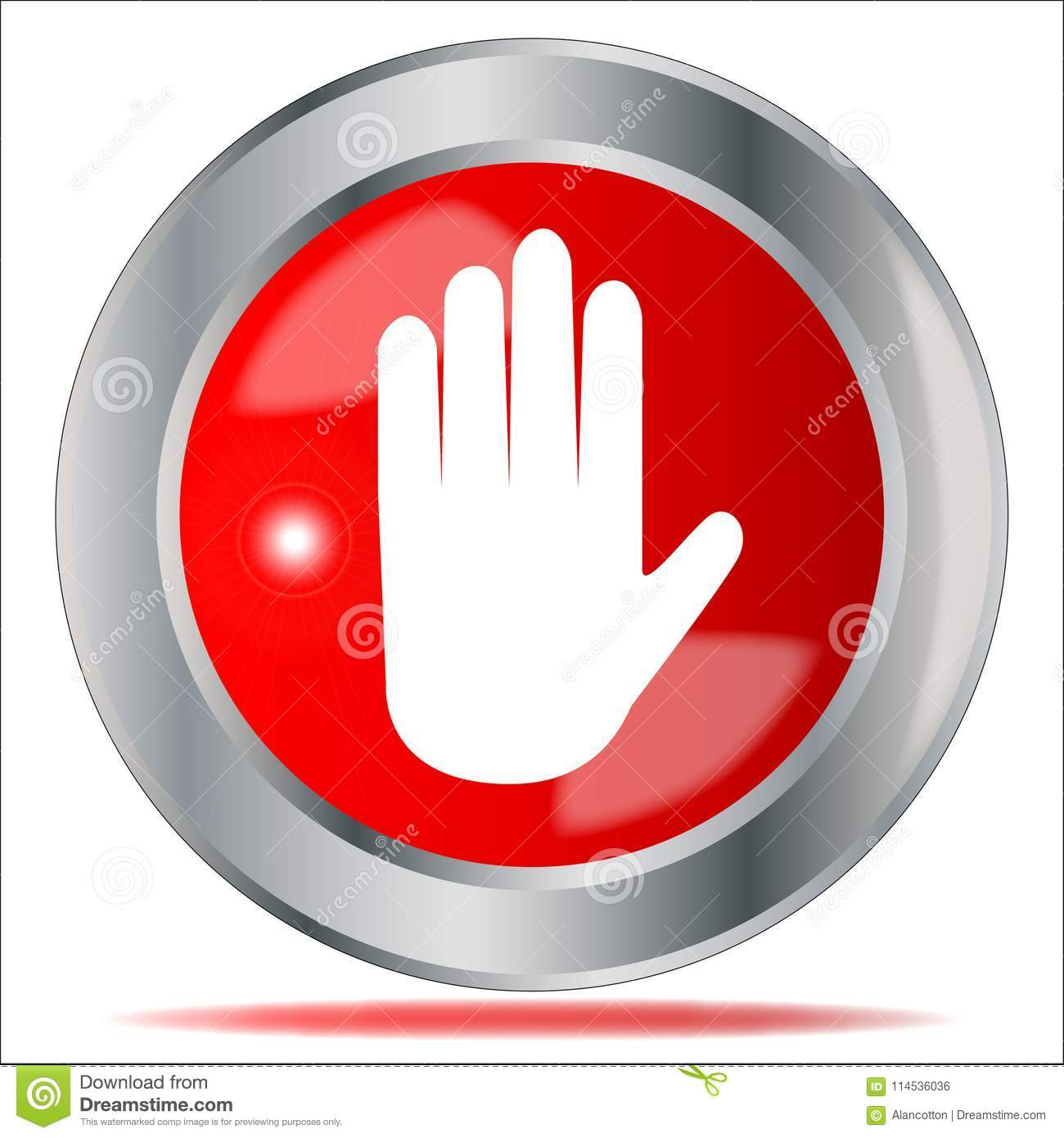 Stop Hand Button Isolated Stock Vector Illustration Of Artwork