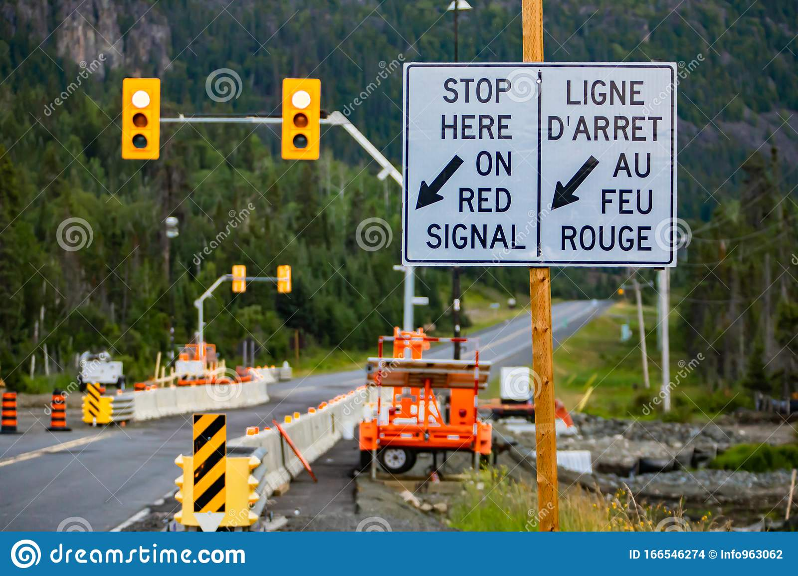 Stop Here On Red Signal Road Sign Stock Photo Image Of Roadside Road 166546274