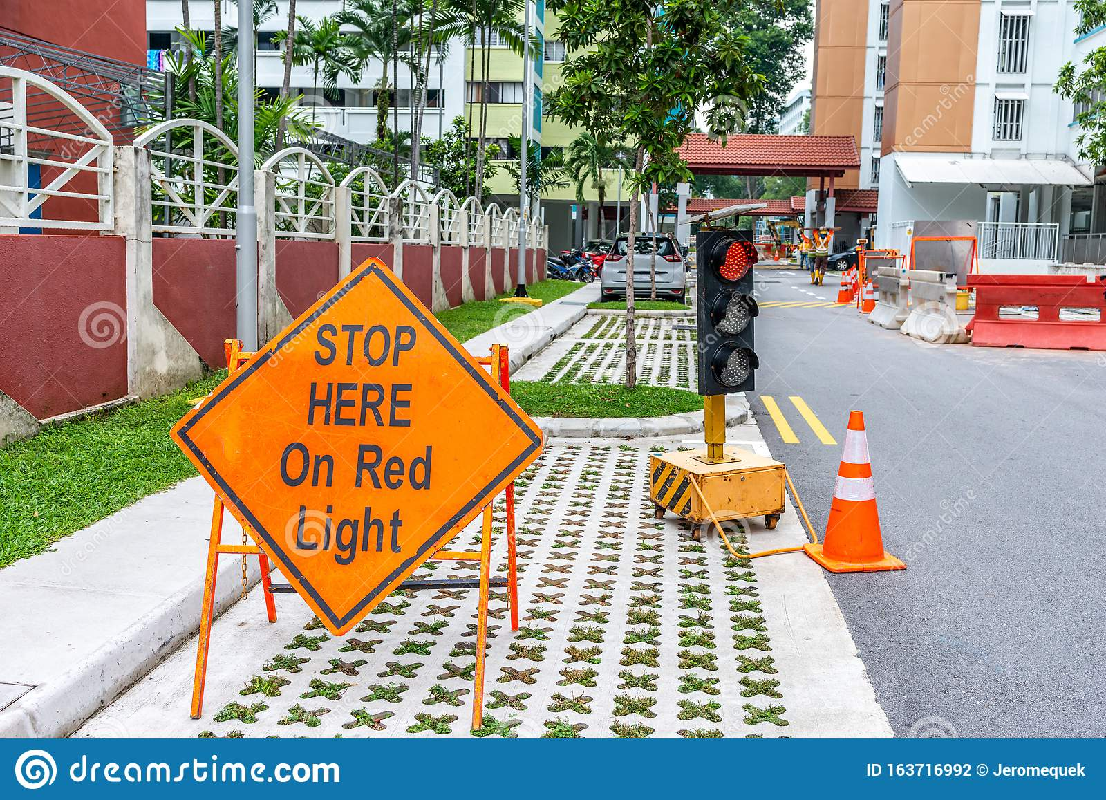Stop Here On Red Traffic Light Sign Stock Photo Image Of Posted Street 163716992