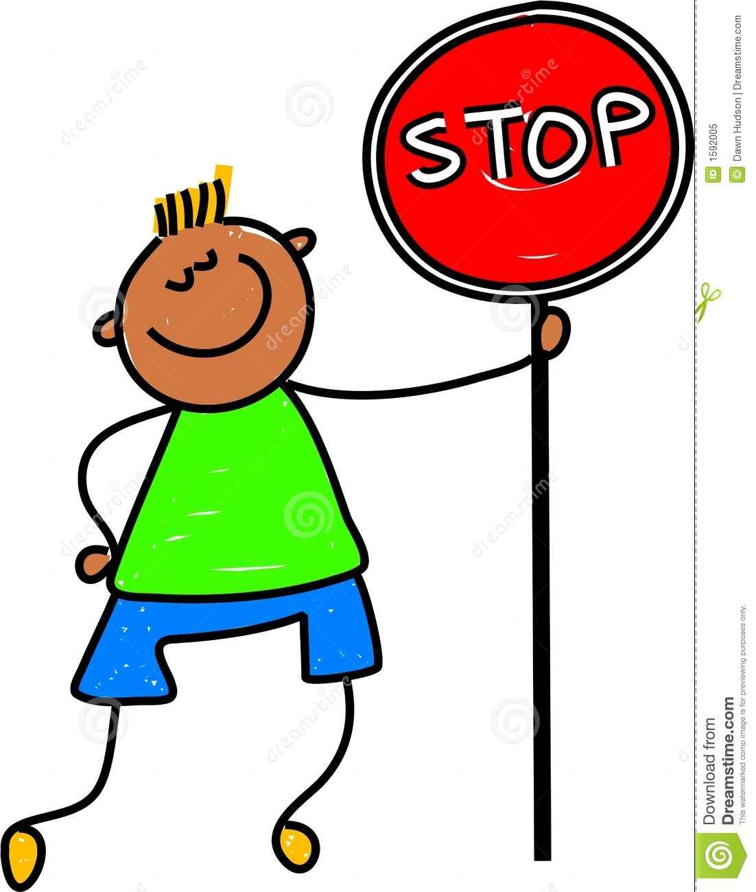 Happy little asian boy holding a stop sign - toddler art series.