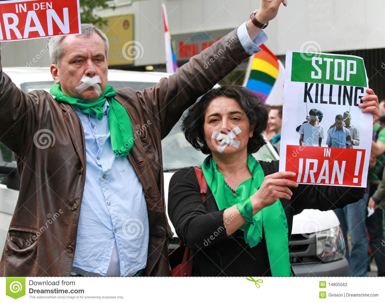 Stop the Killing in Iran protest. Political activists protesting against  the killing of gay people