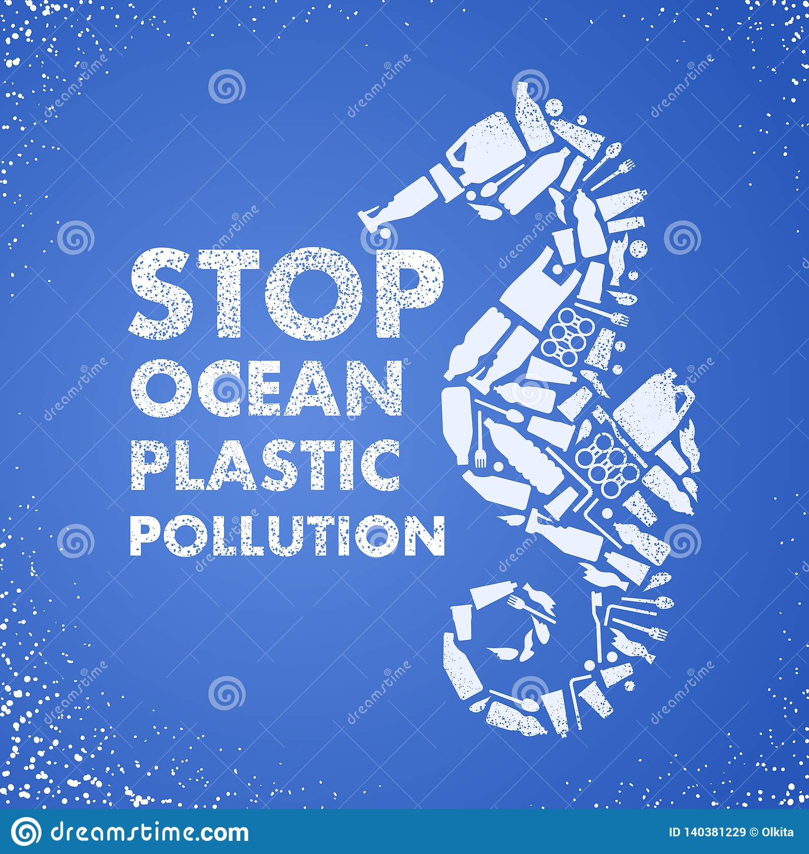 Stop ocean plastic pollution. Ecological poster Sea-horse composed of white plastic waste bag, bottle on blue background. Plastic
