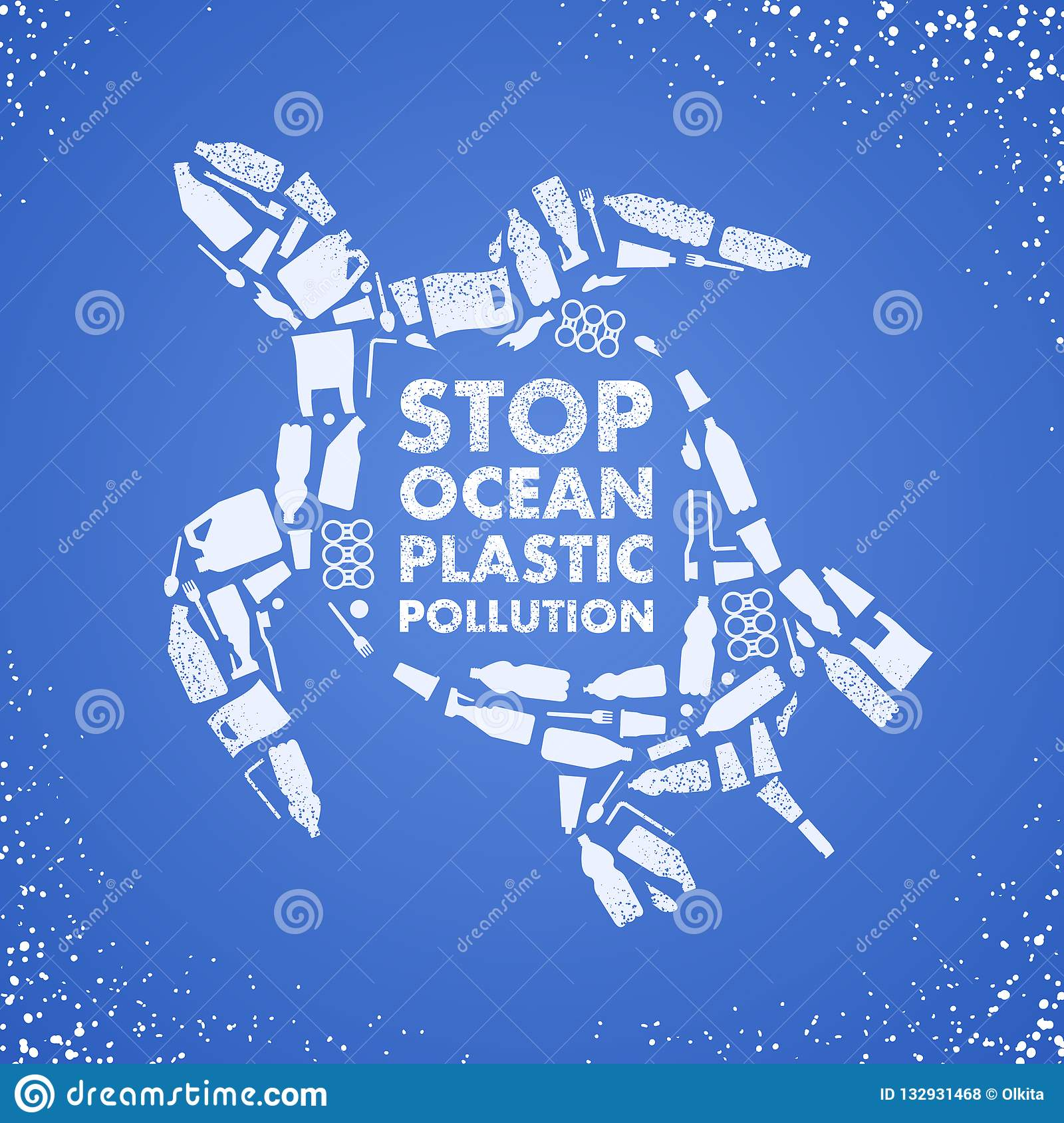 Stop ocean plastic pollution. Ecological poster. Turtle composed of white plastic waste bag, bottle on blue background