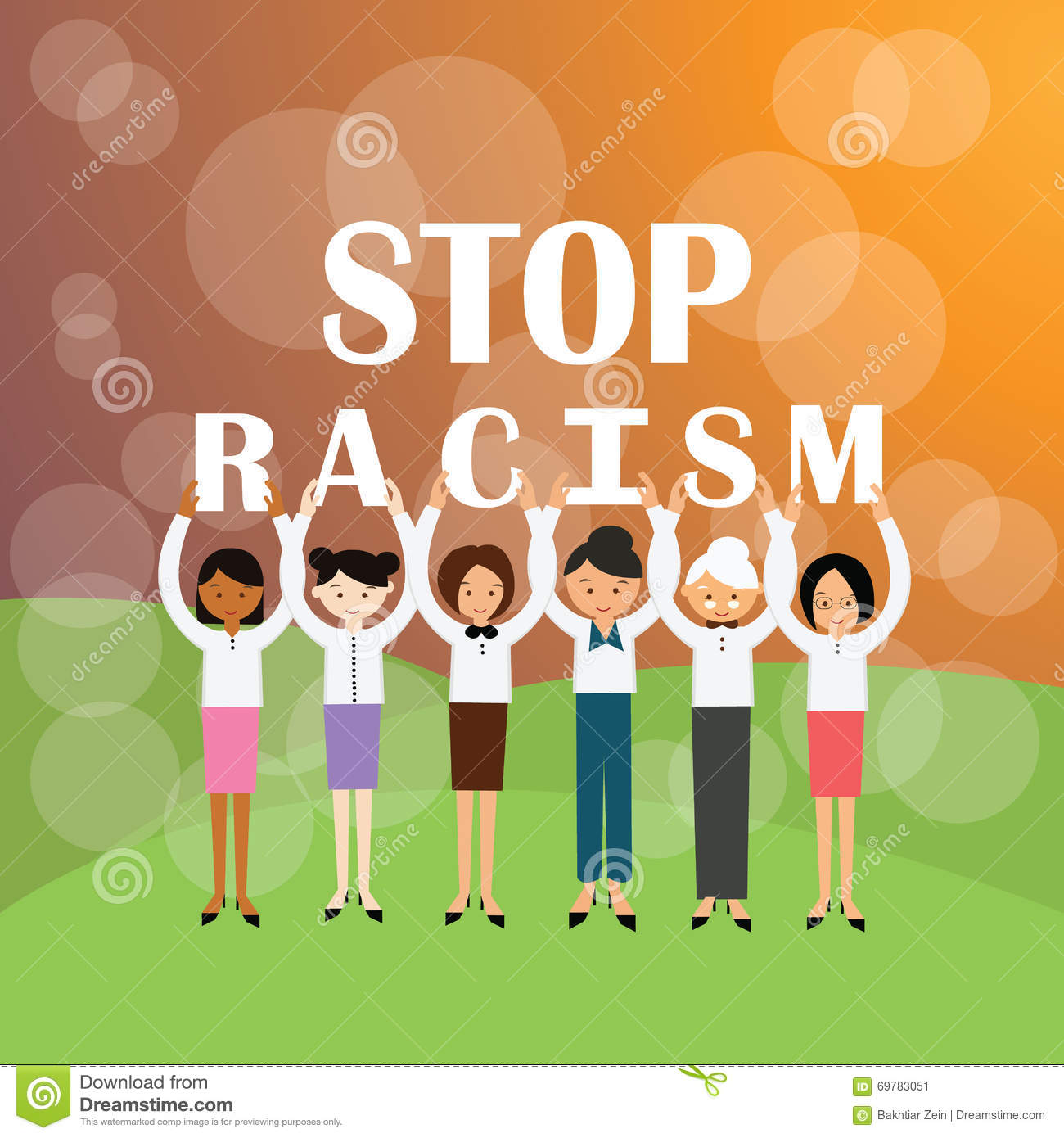 Stop racism multi ethnicity group of people holding sign againts racial discrimination movement